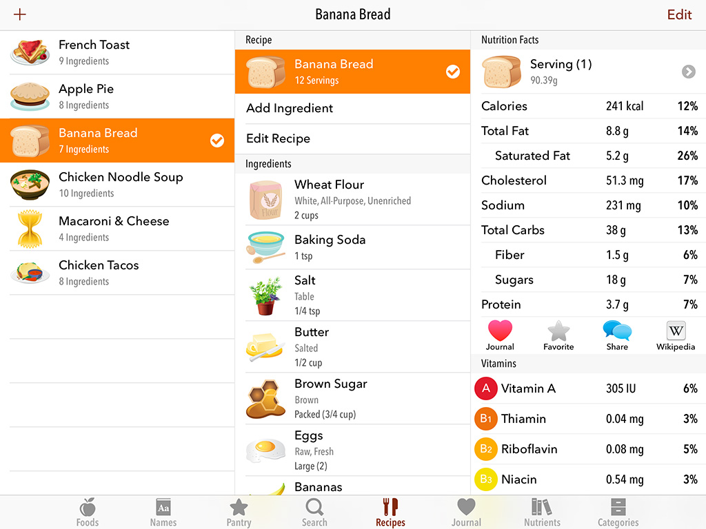 nutrition facts for foods and recipes for iphone and ipad